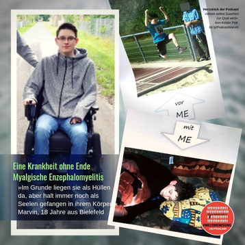 Marvins Leben so wie es jetzt ist. Er sitzt im Rollstuhl aufgrund der schwere seiner Erkrankung ME/CFS. Sein Leben vorher: aktiv. Er war ein guter Leichtathlet und wird hier gerade beim Weitsprung gezeigt.