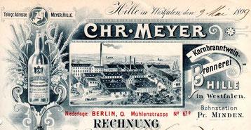 Rechnungskopf von 1899 mit Zeichnung des gesamten Betriebes in damals üblicher Überzeichnung
