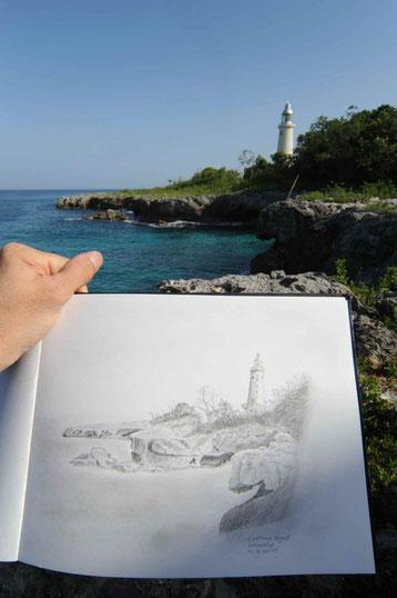 Bild:Skizze,Leuchtturm,Negril,Jamaika,Küste,Meer,David Brandenberger,d-t-b.ch,d-t-b,