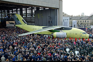 Roll-out of the AN-178 freighter at the aircraft producer's Kiev production site