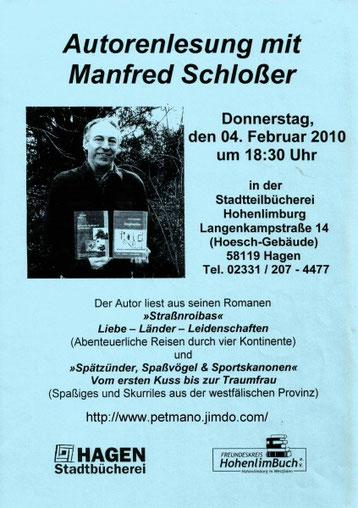 Lesungsplakat für den 4. Februar 2010