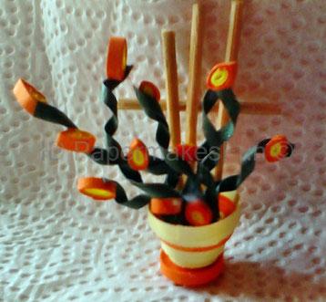 Paper - Quilling - Blumentopf - Miniatures