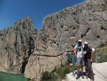 Südseite des Caminito Del Rey von El Chorro aus gesehen