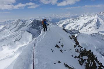 Skihochtour, Gross Grünhorn, Grünegghorn, Gipfelgrat