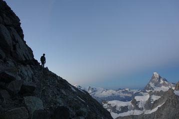 Zinalrothorn, Rothorngrat, Zustieg, Abstieg Triftgletscher