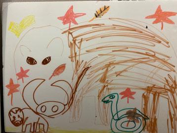 娘が描いたイノシシ