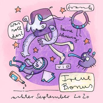Illustration mit purzelnden Figuren in violett von Frank Schulz Berlin