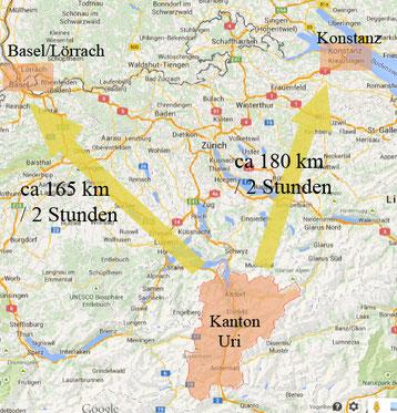 momentane Entfernung des Beutenkäfer - Verdachts von Süddeutschland. (c) Jana Bundschuh, 2015, auf Basis von googlemaps.com