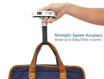 Etekcity Digitale Kofferwaage Gepäckwaage mit Temperaturanzeige, 50 kg Kapazität, Silber Schwarz