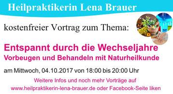 Vortrag Wechseljahre Naturheilkunde Therapie  München Heilpraktikerin Lena Brauer