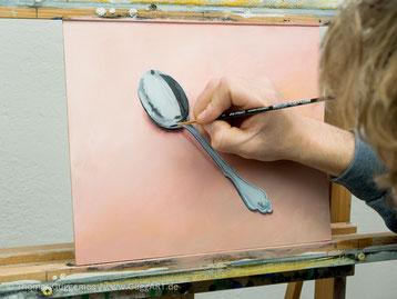Chromeffekt malen mit Acryl, Löffel malen, Besteck malen