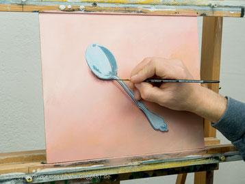 Schatten malen, Löffel mit Schatten, Acrylmalerei