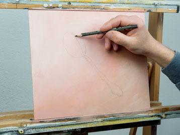Skizziere Löffel, Skizze eines Löffels, Acrylmalerei, Löffel malen