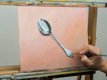 Glanzlichter malen, Spiegelung im Löffel, Acrylmalerei