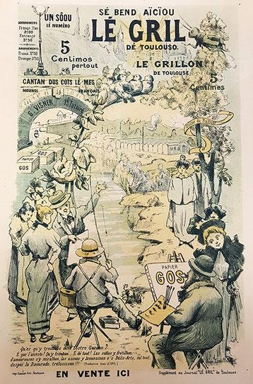 Affiche du Journal Lé Gril dé Toulouso - en fond on aperçoit l'usine du Ramier, sur la gauche le pont neuf et la Garonne ainsi que les grosses ramettes de papier Gos, derrière le titre on peut retrouver la basilique St Sernin.
