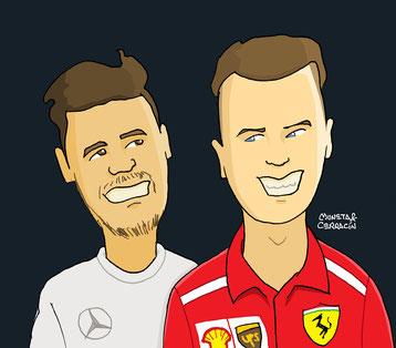 Lewis Hamilton & Sebastian Vettel by Muneta & Cerracín