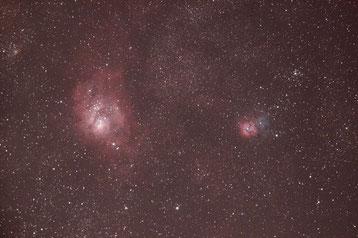 Image brute : M8 à gauche, M20 à droite (cliquez pour agrandir)