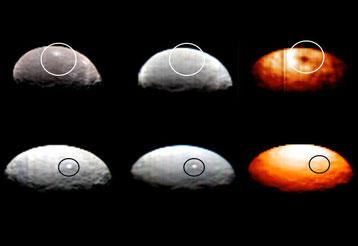 Cérès en lumière visible et en infrarouge