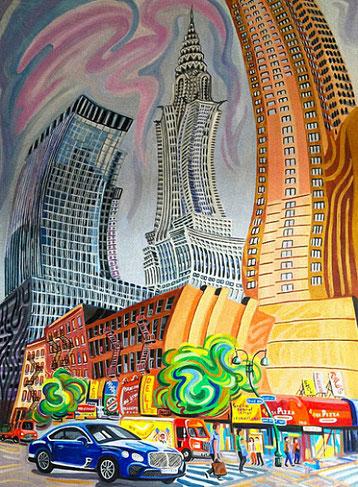 EDICIFIO CHRYSLER (NEW YORK). Huile sur toile. 130 x 97 x 3,5 cm.