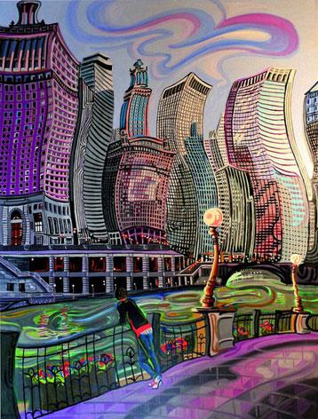A LA ORILLA DEL RIO CHICAGO (CHICAGO). Huile sur toile. 130 x 97 x 3,5 cm.