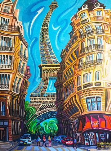 TORRE EIFFEL (PARIS). Huile sur toile. 130 x 97 x 3,5 cm.