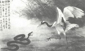 Der Kranich und die Schlange