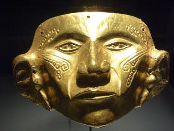 Bild: Totenmaske aus dem Museo de Oro in Bogotá