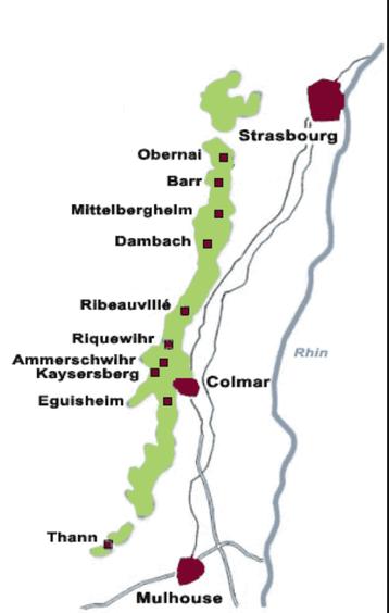 De kaart van de Elzas als wijngebied