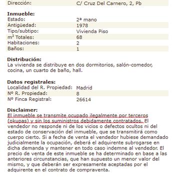 Anuncio de la venta de un inmueble ocupado en el Casco Antiguo de Vicálvaro