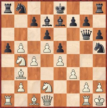 Brüne - Eggebrecht: Beide Spieler übersahen, dass hier nach 19. ... Sg3!! 20.hxg3 Schwarz mit Dh5 matt setzen kann