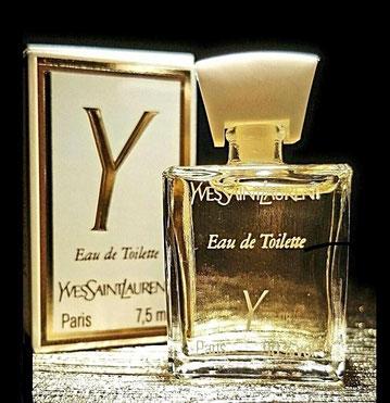 Y - EAU DE TOILETTE 7,5 Ml - FACE DE LA MINIATURE LISSE, SERAGRIPHIE BLANCHE, BOUCHON PLASTIQUE BLANC CLIPE