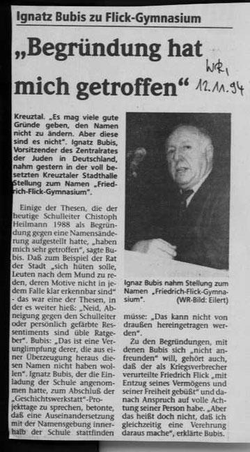 Ignaz Bubis in Kreuztal (WR vom 12.11.1994)