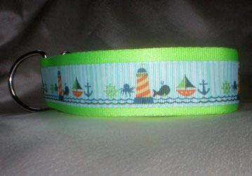 Halsband, Hund, Zugstopp 4cm breit, Gurtband olivgrün, Borte See- und Strandmotive