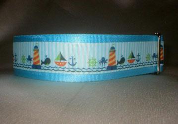 Halsband, Hund, Martingale, 4cm breit, gurtband eisblau, Leuchtturm Borte