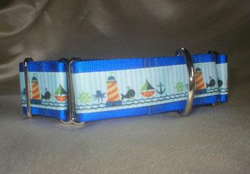 Halsband, Hund, Martingale 4cm breit, Gurtband königsblau, Borte mit See- und Strandmotiven