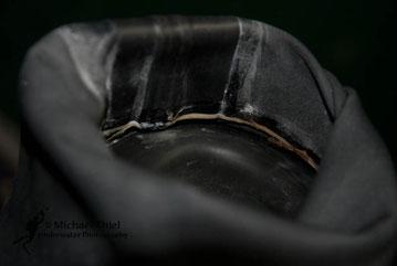 Innenseite - man sieht die originale Abdeckung der Nähte - daran wurde nichts geändert, nur aben abgeschnitten...