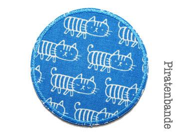 Bild: Hosenflicken für Kinder Katze blau Bügelflicken