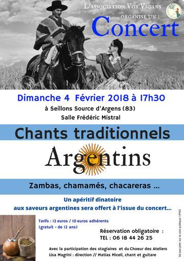 Concert chants Argentins Seillons Var dimanche 4 fevrier