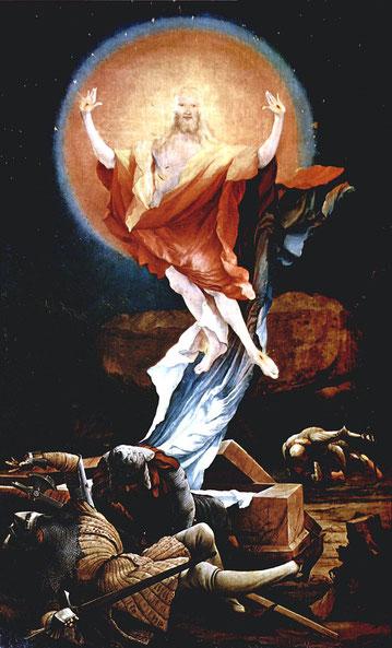 Ein Altar-Flügel des Isenheimer Altars von Matthias Grünewald, die Auferstehung