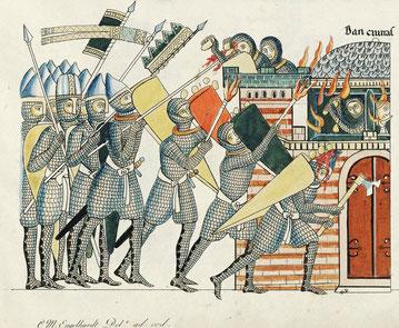 Belagerung einer Burg im 12. Jahrhundert, Wikipedia gemeinfrei.