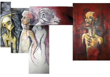 Huile sur cinq toiles