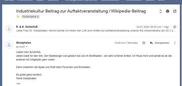 Frau Dr. Westphalen, Leiterin der AG Industriekultur Sachsen 2020, zum Bericht über die Auftaktveranstaltungrag