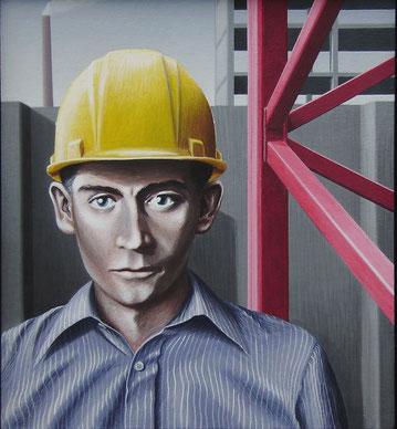 Junger Bauarbeiter, 1978, Acryl auf Leinwand auf Holzplatte, 50/55 cm