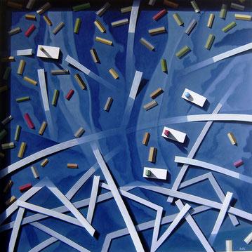Flut, 2010, 120/120 cm, Acryl auf Leinwand