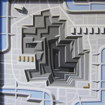 Tiefbau, 2010, 120/120 cm, Acryl auf Leinwand