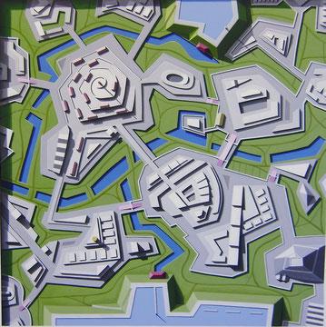 Sperrwerke, 2010, 120/120 cm, Acryl auf Leinwand
