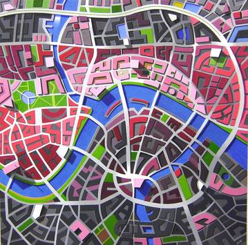 Hauptstadt, 2009, 120/120 cm, Acryl auf Leinwand