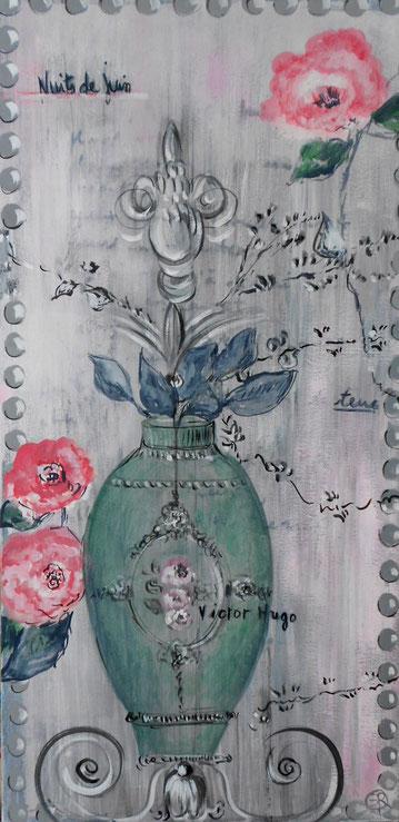 peinture vase ornements et fleurs