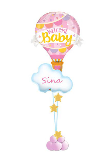 Luftballon Ballon Folienballon Heißluftballon Geschenk Überraschung Baby Geburt Taufe Shower Mädchen Junge Girl Boy Mitbringsel Krankenhaus