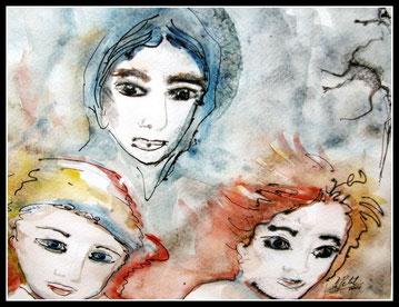 Le trio, aquarelle encre de Chine.D.Petit